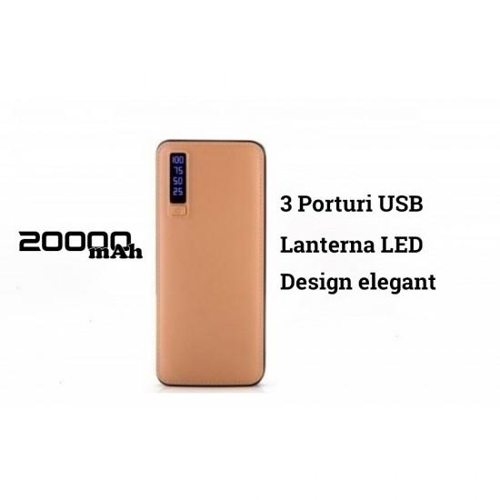 83.30 - Baterie Externa Power, 20000 mAh, cu 3 USB, pentru Telefoane, Tablete, Camere Foto - Baterii Externe