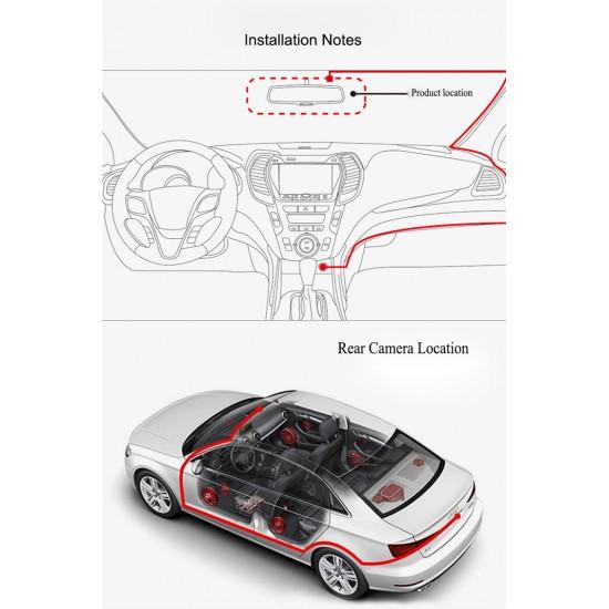 160.30 - Oglinda DVR, retrovizoare auto cu camera fata/spate, inregistrare Full HD - Camere Auto