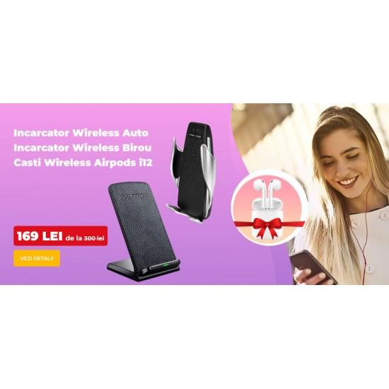 210.00 - Pachet Wireless: incarcator wireless auto + incarcator wireless de birou + casti wireless tip AirPods i12 - Incarcatoare Wireless