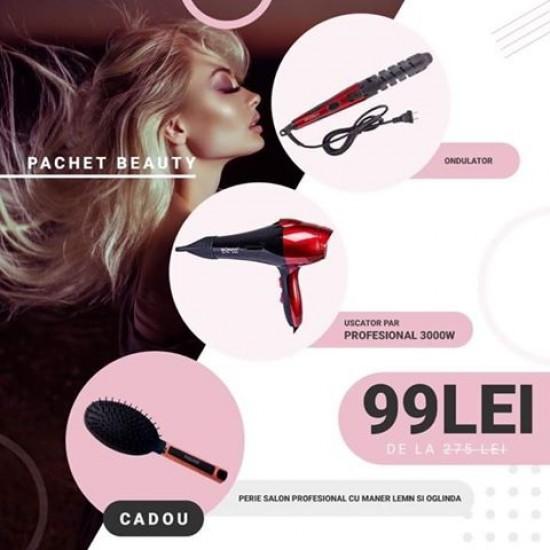 192.50 - Pachet Beauty: Ondulator par + Uscator par 3000W + Perie salon profesional cu maner lemn si oglinda - Ingrijirea Parului